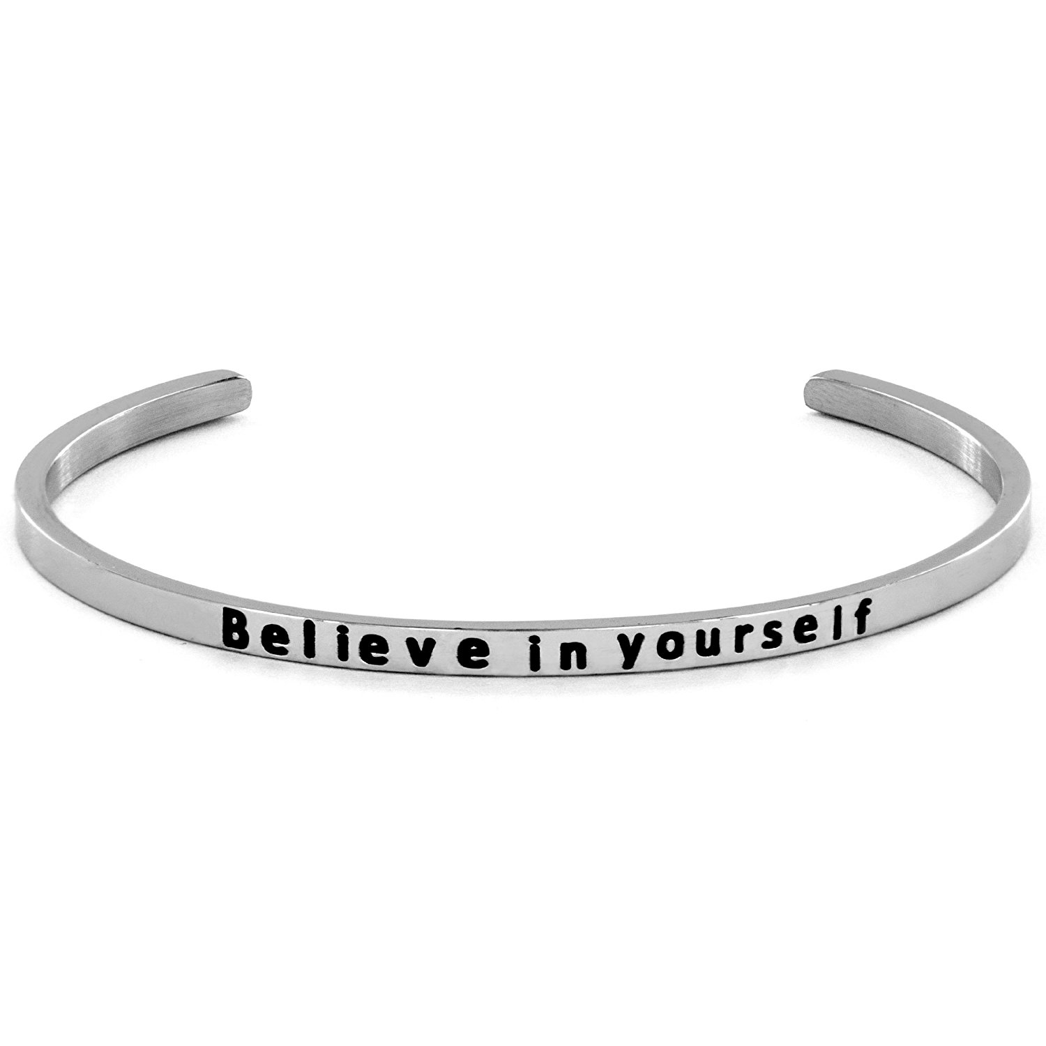 West Coast Jewelry 'Believe in Yourself' - Premium stainless steel Inspirational Cuff Bangle Bracelet