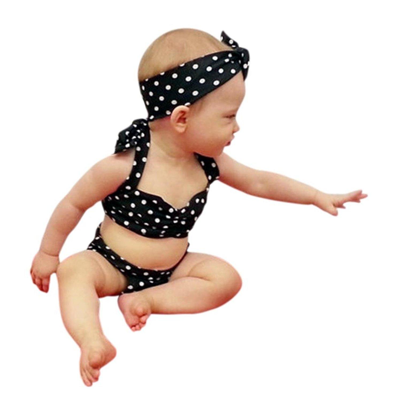 10d932ed028 Get Quotations · Moonker Girls Swimwear,Kids Straps Dots Bikini Swimwear  Sunsuit Set and Headbands For 0-