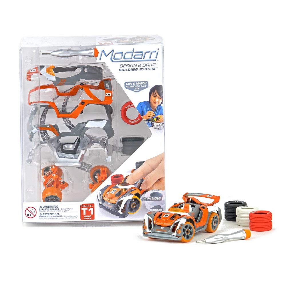 Modarri T1 Turbo Track Car | STEM Educational Toy Cars | Make a model car - Design your own working race cars | Fun and Functional Building Toys for kids | Girls and Boys Gifts Age 5-10
