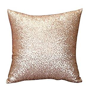 """Oksale Glitter Sequins Square Pillow Case Sofa Home Decor Throw Cushion Cover, 18"""" X 18"""", with Zipper Closure (40 40cm /15.7 15.74 Inch, Gold)"""