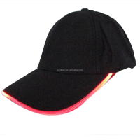 LED Light Glow Club Party Sports Athletic Black Fabric Travel Hat Cap Led Cap Fashion Cool Baseball Cap