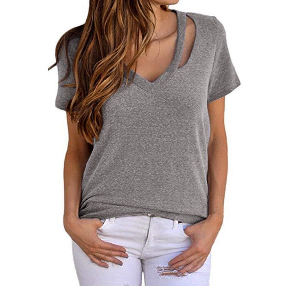 Jinjin Womens Blouse, Womens Casual Short Sleeve V Neck Basic T-Shirt Tops Summer