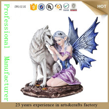 resin fairy with white teen wolf figurine sculpture garden wolf statue deco for sale