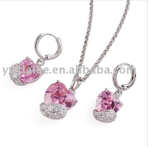 2017 Newest delicate heart jewelry sets pink zircon jewelrysets