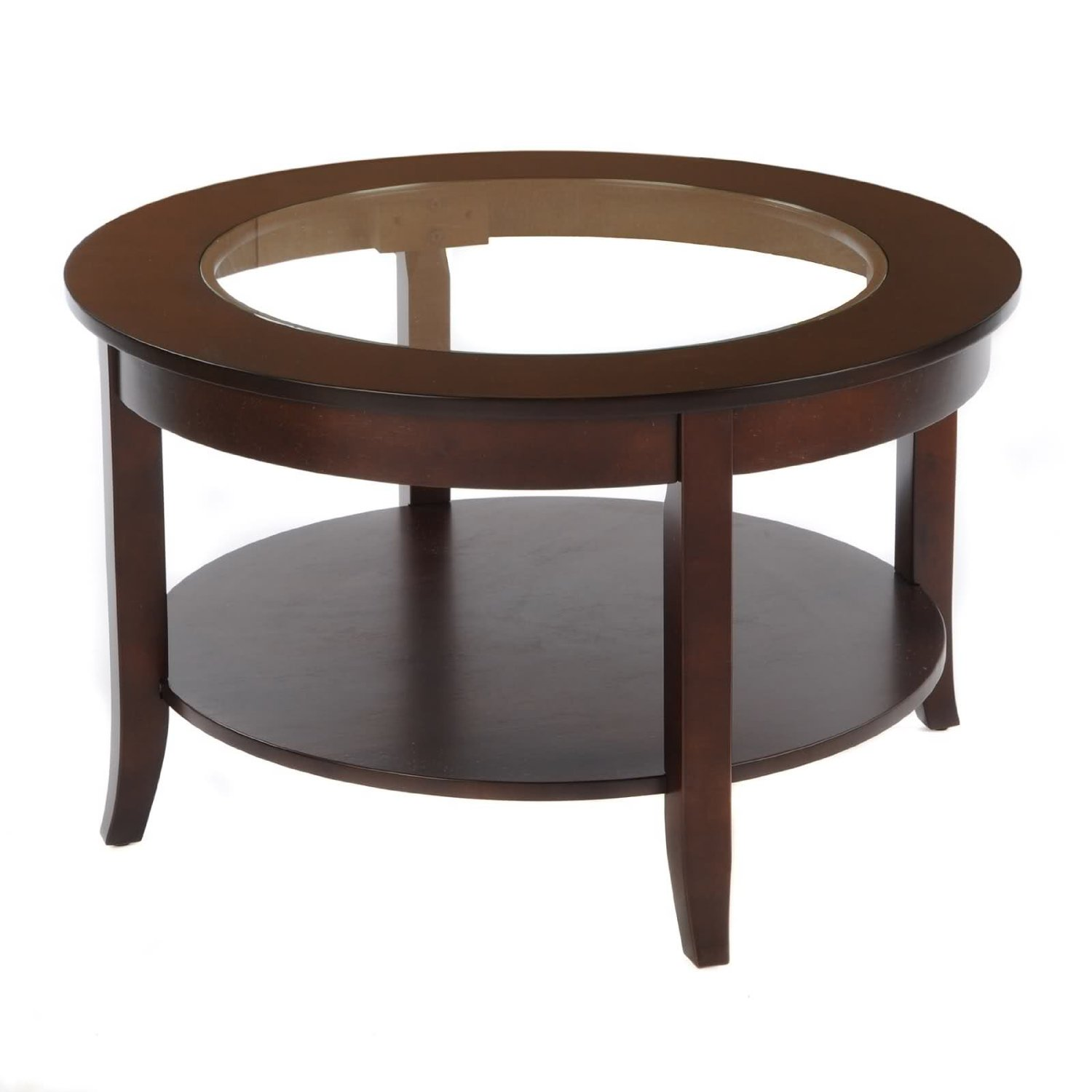 Delicieux Get Quotations · Bay Shore Collection Round Glass Top Coffee Table,  Espresso, 30 Inch