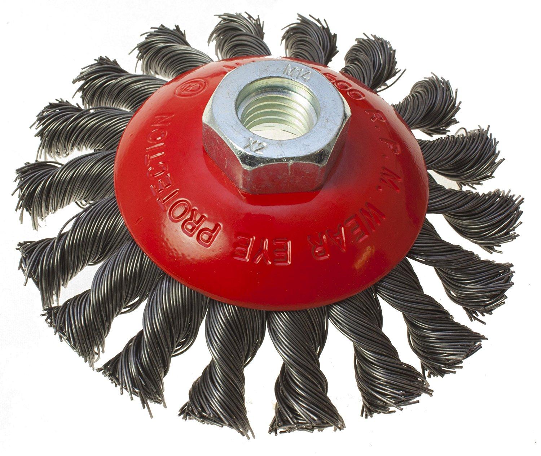 Toolzone 100mm M14 Heavy Duty Knotted Semi Flat Wire Wheel