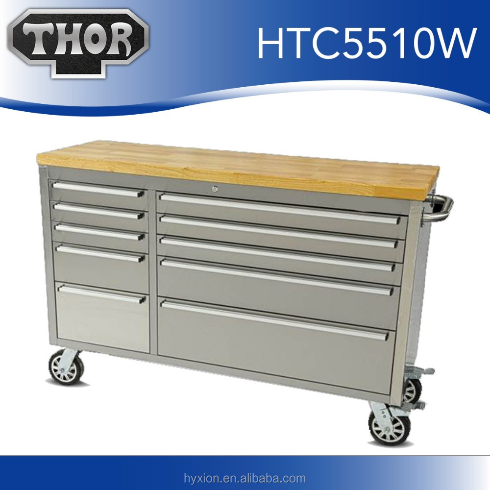 "55""Tool Case Workshop with 10 Drawer Chest Metal Tack Box"