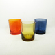 2018 New popular clear blue amber colored glass candle holder cheap candle cup