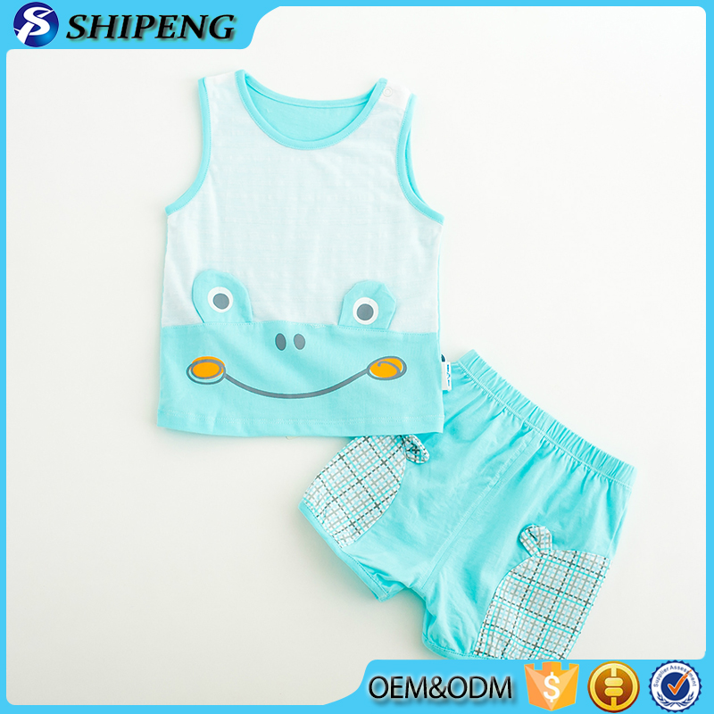 2016 Guangzhou High quality cotton cartoon tank top and shorts 2pcs clothing sets kids clothes for wholesale