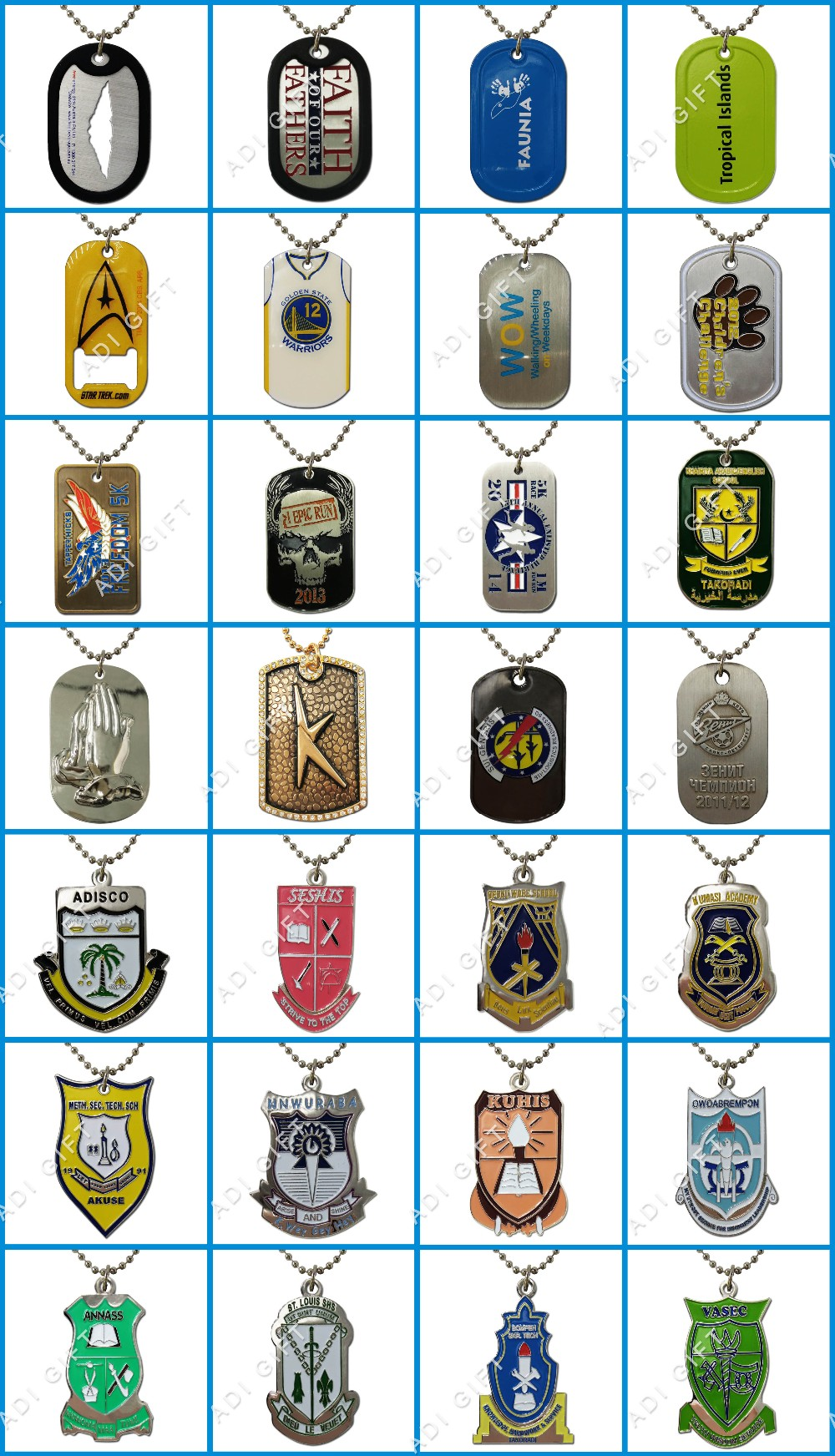 Hot selling nickel plating custom soft enamel dog tag for man