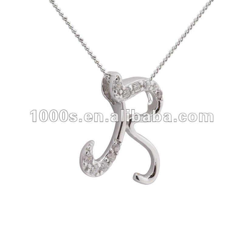 925 Silver Letter R Pendant Necklace Jewelry