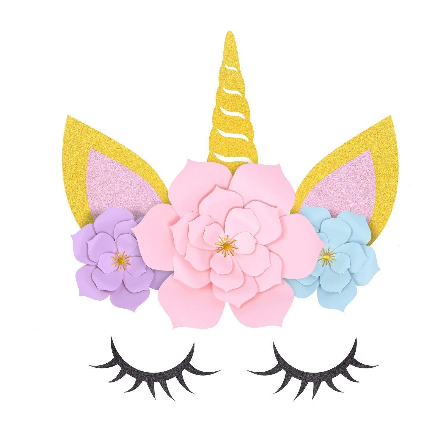 Crisky Unicorn Party Supplies and Decorations Backdrop for Girls Birthday Party Baby shower - DIY Unicorn Flower Backdrop with Glitter Giant Horn Ears Eyelashes