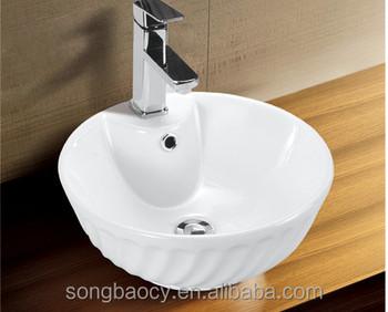 W2017 Bathroom Above Counter Design Ceramic Round Wash Basin