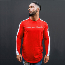 OEM 2019 Laufende männer Shirts Rot/Weiß Gym Fit <span class=keywords><strong>Langarm</strong></span> T Shirt