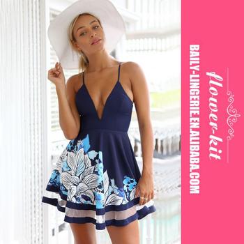 5c52d6dca118 Two Color Cute Summer Dress Off Shoulder Sexy Deep V-Neck Skater Dress