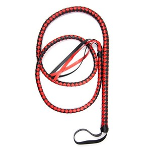 Red Leather Braided Long Whip Sexy Bondage Horse Whip with loop Handle