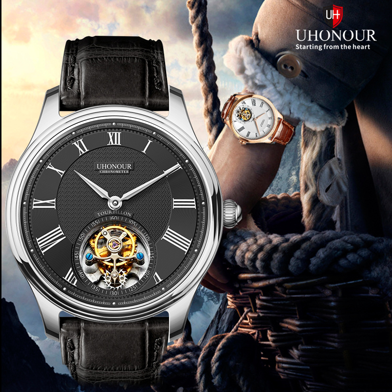 50m waterproof sapphire crystal stainless steel automatic tourbillon watch with for men with crocodile leather strap