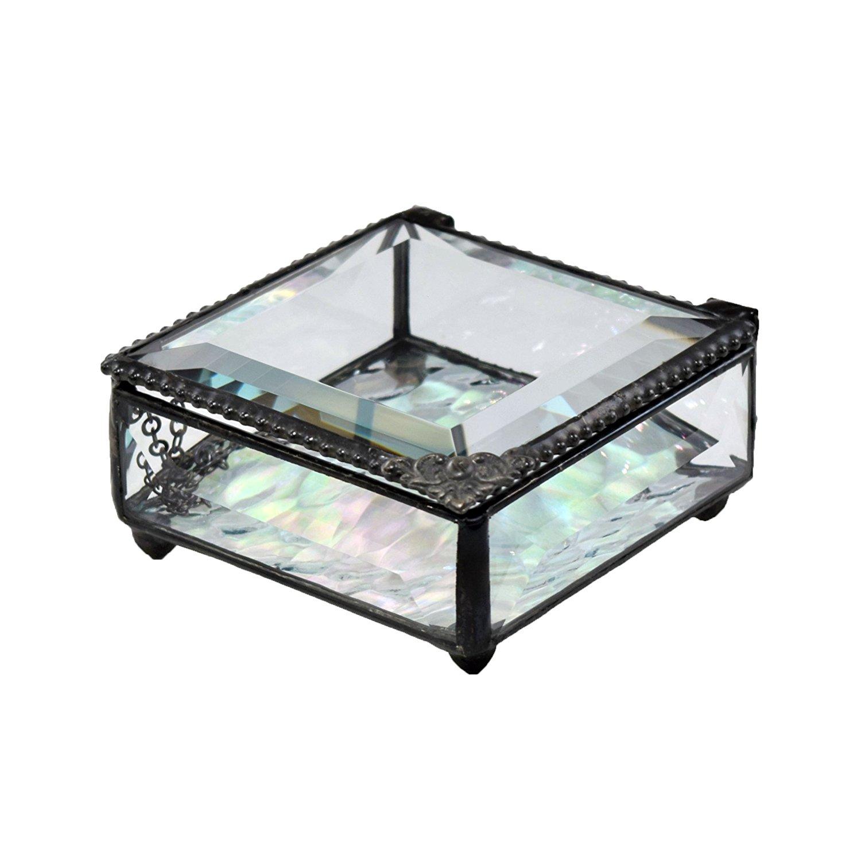 J Devlin Glass Art Box 723-2 Clear Beveled Glass Box Jewelry Keepsake Gift Trinket Box