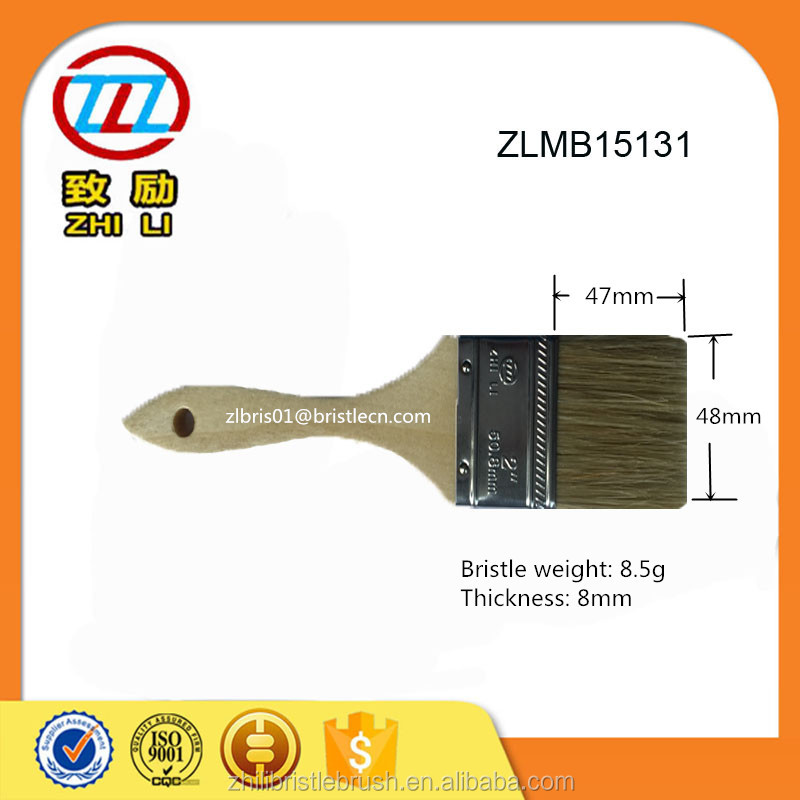 Blend bristle with synthetic filament , wooden handle paint brush