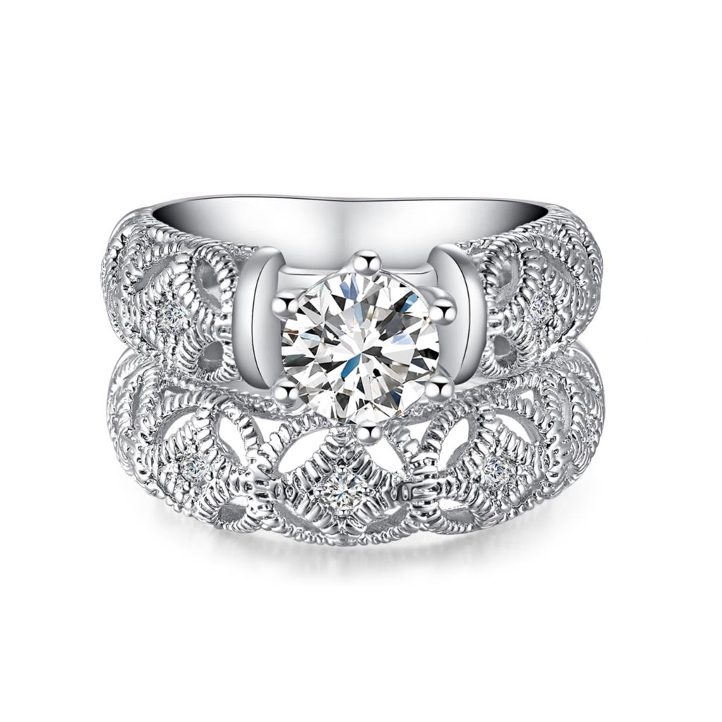 women wedding ring set platinum plated 2016 lady engagement jewelry wholesale fashion new czech. Black Bedroom Furniture Sets. Home Design Ideas