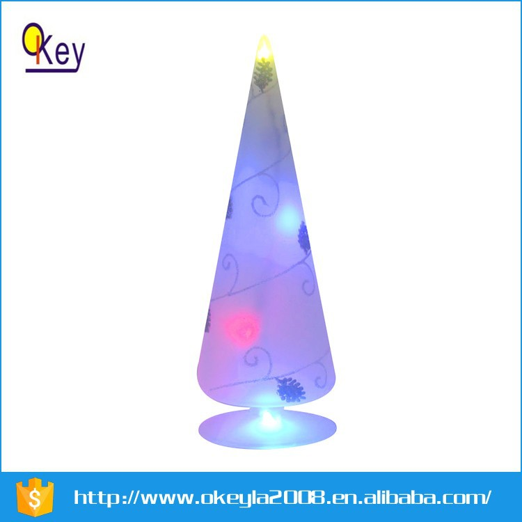 LED glass Xmas tree with light up christmas decoration supplies