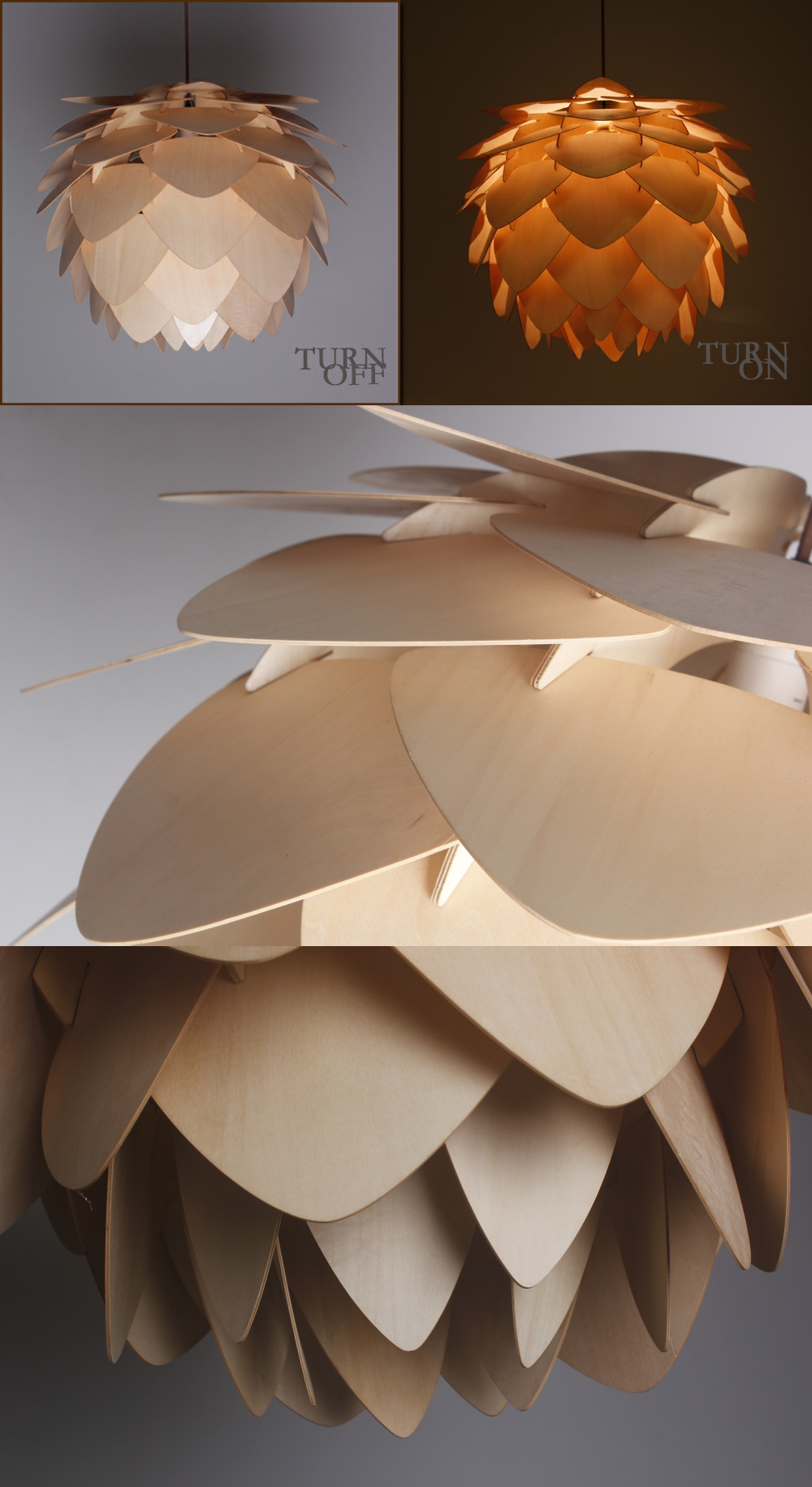 Attractive Modern Artichoke Lighting Crimean Pine Cone Wooden Pendant Lamp  403P B01/02/03 Awesome Ideas