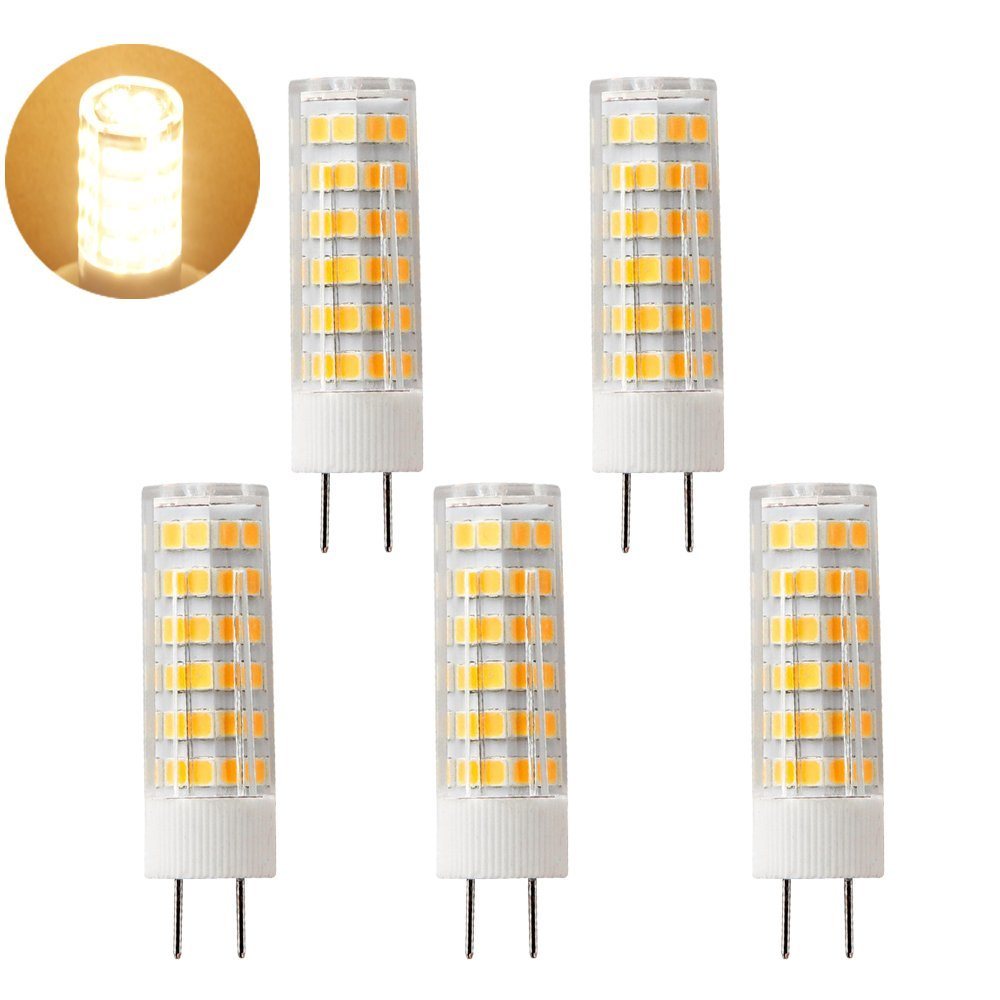 G8 LED Bulb, Dimmable 6.5W Warm White 3000K, T4 JC Type,G8 Bi-Pin Base Halogen Light Bulb for Cabinet Puck Light, 110V-120V Xenon 65-75w Halogen Replacement(Pack of 5)