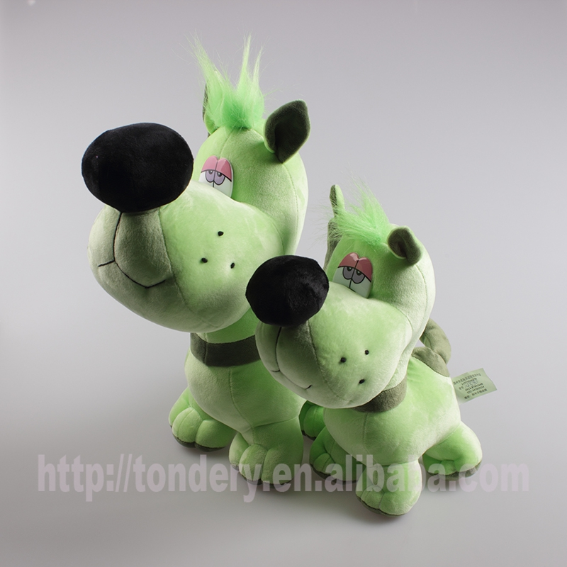 yiwu best made toys plush green dog stuffed animals for sale