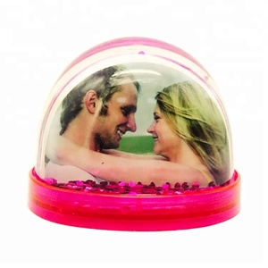 Valentine gift decor Plastic Acrylic DIY glittering photo frame snow globe