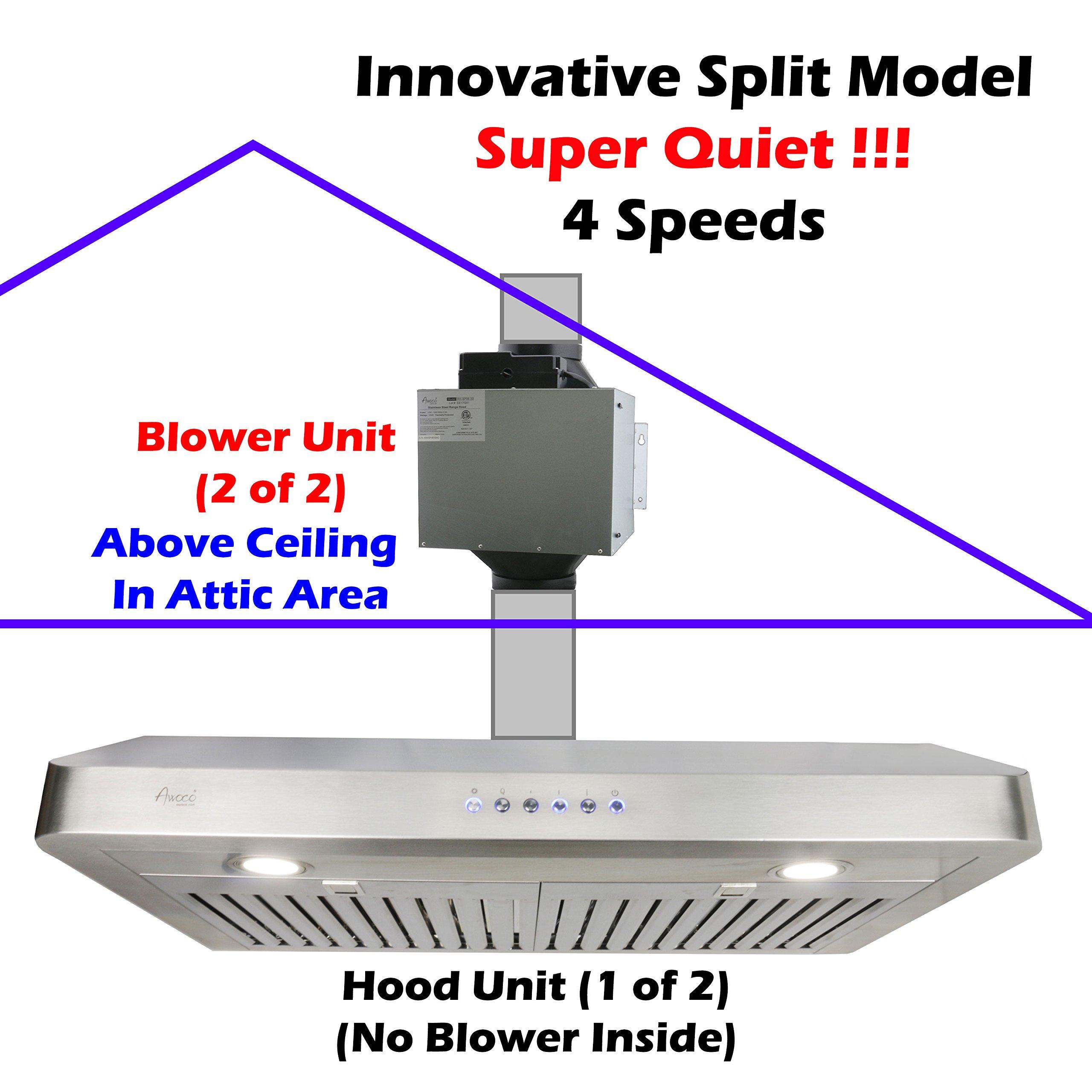 Buy Awoco Split Super Quiet Range Hood Inline Blower Unit