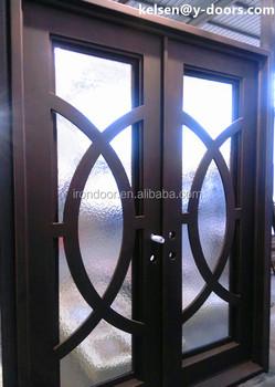 Big Circle Design Elegant Wrought Iron Double Entry Door