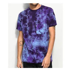 Wholesale acid wash tshirt 100 cotton t shirts mens short sleeve causal plain tees custom blue t-shirt