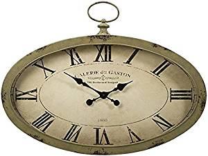 """Fisher Oval Wall Clock, 24.5""""Hx35.75""""Wx3""""D, TAN"""