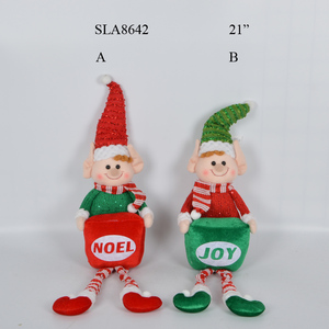 Animated Christmas Ornaments Red Green Sitting Figures Stuffed Cute Elf Plush Toys with Gift Box