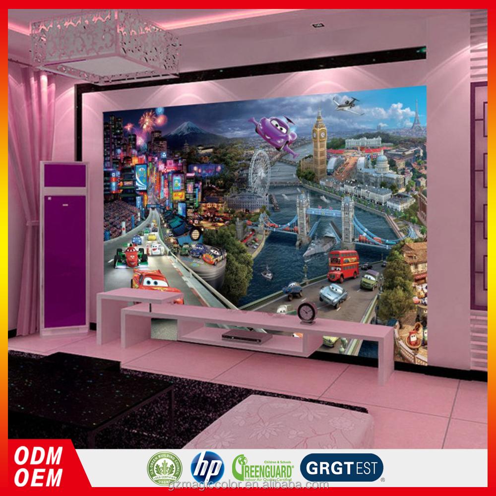 3d de dibujos animados cars cuadros murales de papel tapiz for Car mural wallpaper