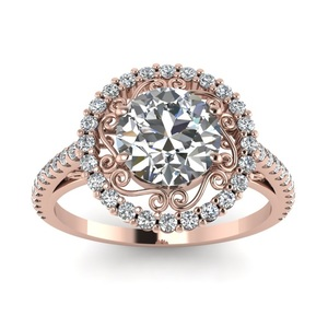 SJ 3D Jewelry Designer SJF011 Classic Women Brass Lead Free Round AAA Cubic Zirconia Rose Gold Plated Engagement Ring for Lady