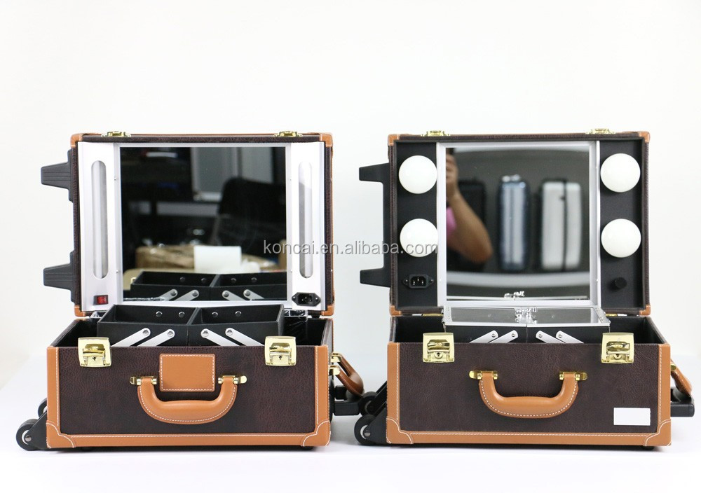 New Design Trolley Makeup Case With Lights Makeup Box