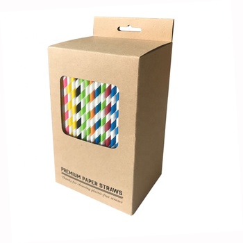 Free Samples FSC FDA Approved 6MMX 19.7CM Rainbow Straw Paper Box