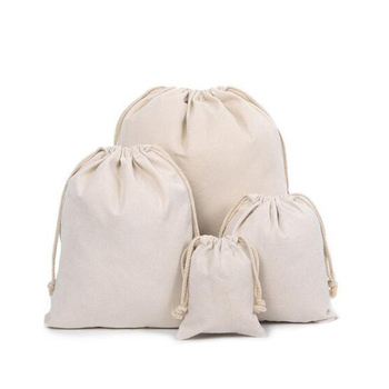 Pure whiteness small cotton muslin drawstring bag