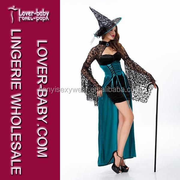 Mystic Lace Sleeves Black Inner Dress Long Blue Sexy Dance Halloween Witch Costumes