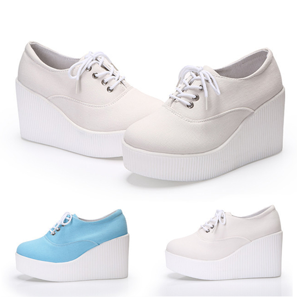 af6df3e5ba65 Buy Women high heel Wedge sneaker Close toe Platform creepers canvas shoes  lace up ladies autumn shoes white zapatos mujer in Cheap Price on  m.alibaba.com