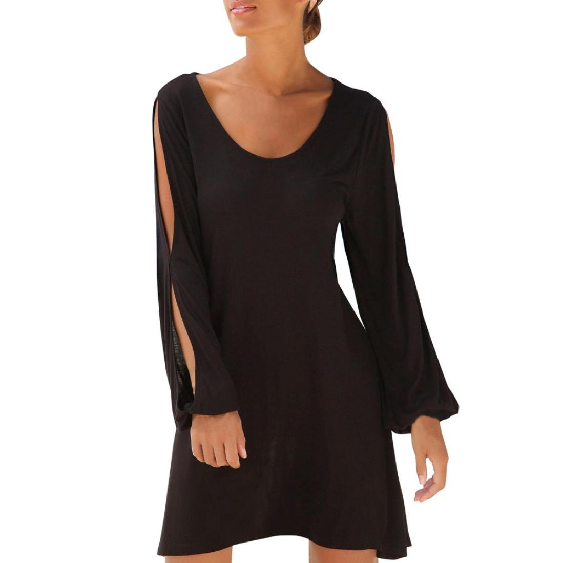 Fashion Women's Mini Dress, Casual O-Neck Hollow Out Sleeve Solid Beach Style Long Dresses