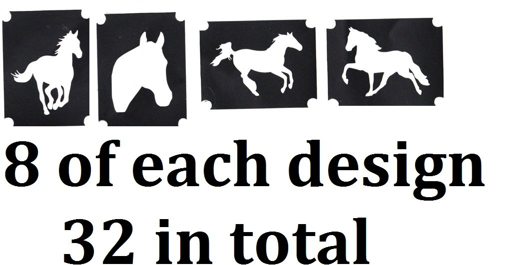Horse Collection (32 Tattoo Glitter Airbrush Stencil Horse)