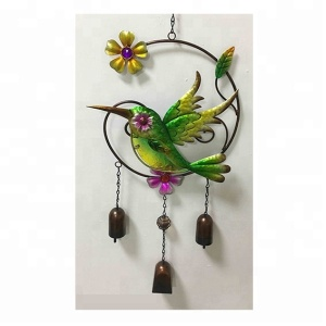 Metal Hummingbird glass feeders with wind bell /chimes home &home outdoor Decoration