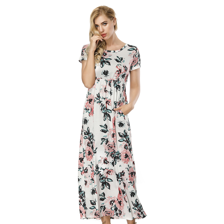 Drop Shipping Women Fashion Floral Print Casual Stretch Evening Long Maxi Party Sexy Dress