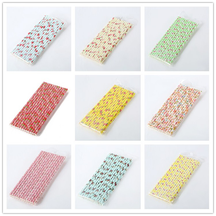 EU/FDA Certificate Wholesale Stock Birthday Party Flower Print Paper Drinking Straws