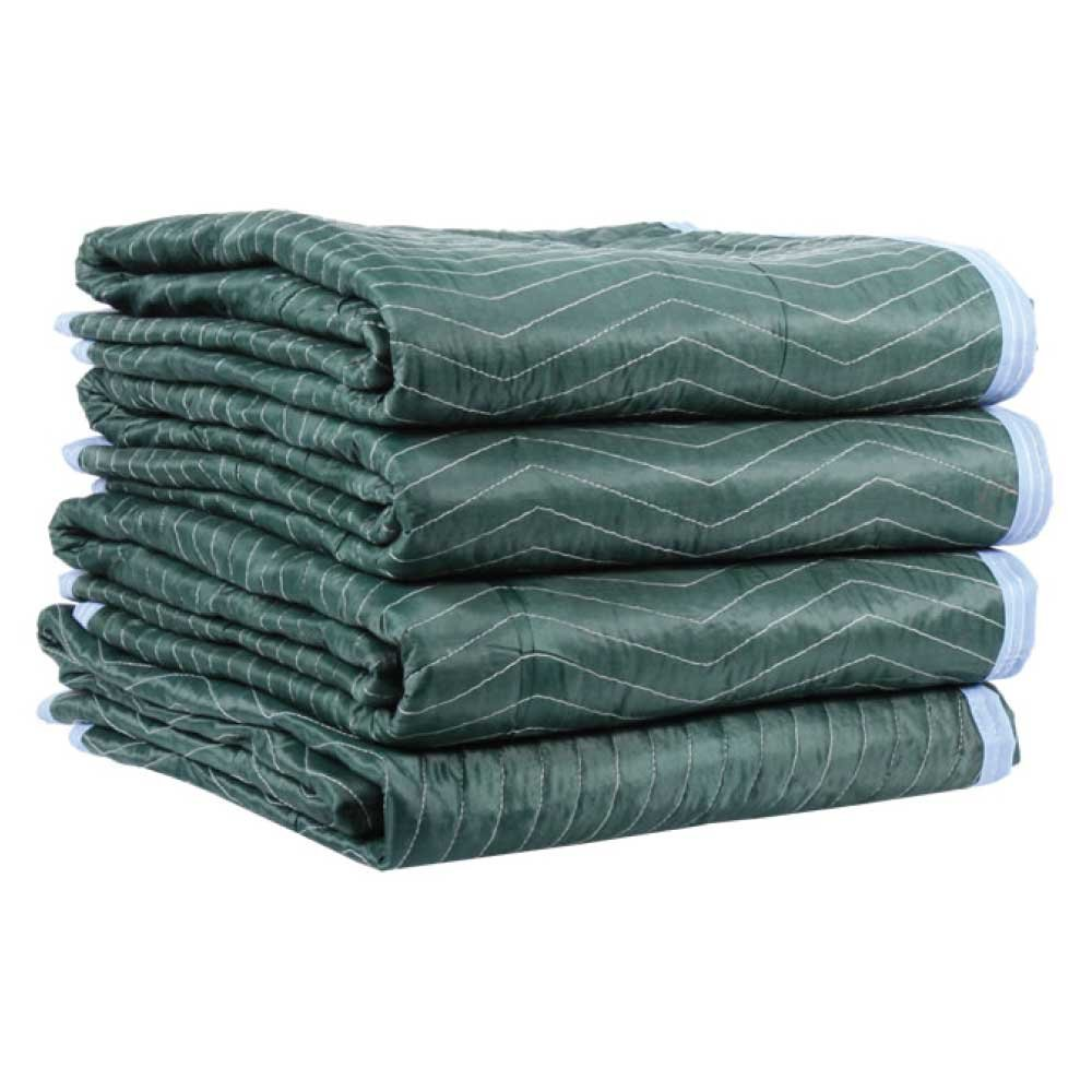"""Moving Blanket (4-pack) 72"""" X 80"""" US Cargo Control - Multi Mover (6.25 Lbs/each, Green/Light Blue)"""
