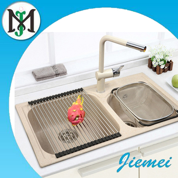 2016 hot selling double bowl quartz stone granite kitchen sink with cheap price - Kitchen Sinks Cheap Prices