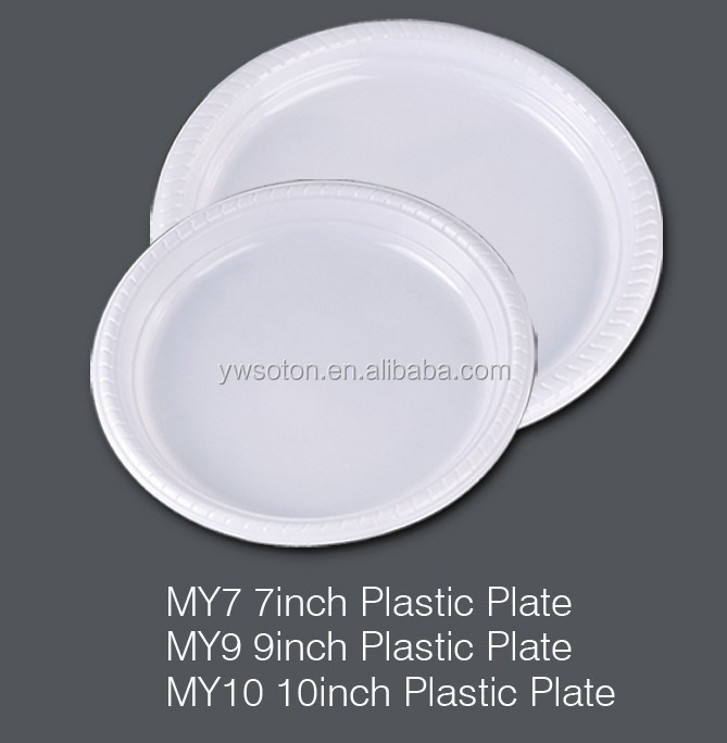 7,9,10 Inch White Plastic Plate Disposable Weeding Pary Birthday Tableware Dinnerware Salad Plates Dinner Plates