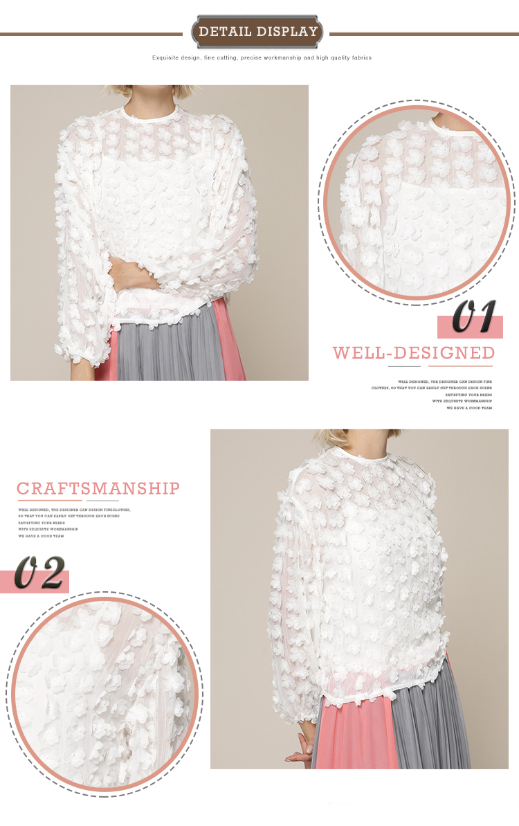 Custom woven flower appliques long sleeve Elegant Women Blouses